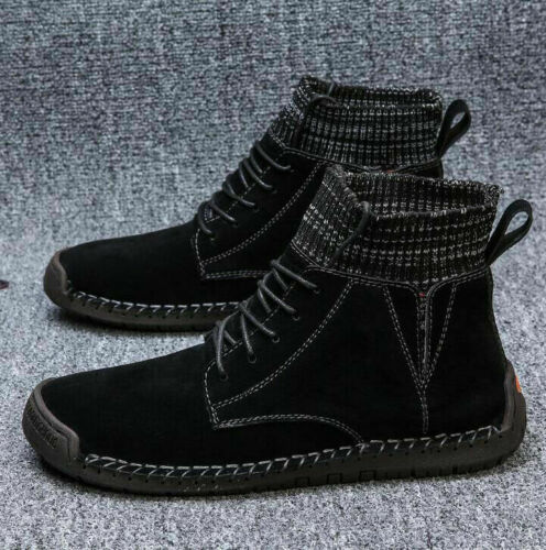 Men Pigskin Leather Casual Shoes British Comfort Ankle Sock Boots Lace Up Bootie