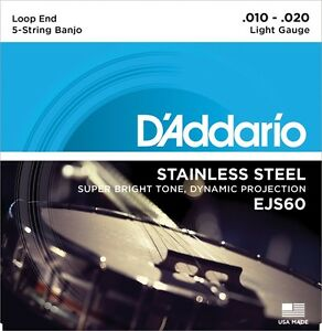 3 Sets D'addario Ejs60 5 String Banjo Stainless Steel Light 9-20 Js60
