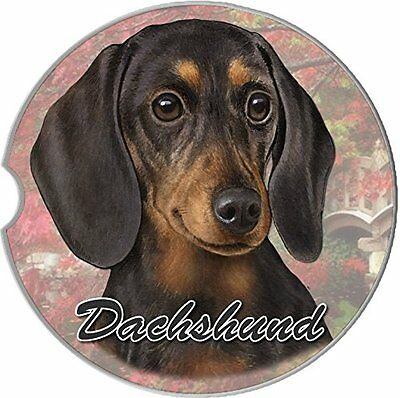 Black Dachshund Set Of Car Coasters Absorbent Stoneware Keep Cup Holder Dry NEW