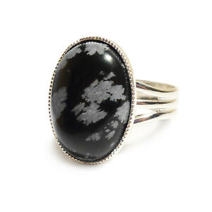 Snowflake-Obsidian-Gemstone-Ring-Oval-Adjustable-18-x-13-mm-Silver-Plated