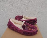 Ugg Ansley Lonely Hearts Exotic Velvet Sheepwool Moccasin Slippers Us 10/ 41