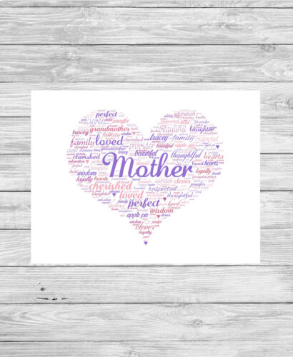 Personalised Word Art Print HEART Mother Mum Nanna Sister Mother/'s Day Gift