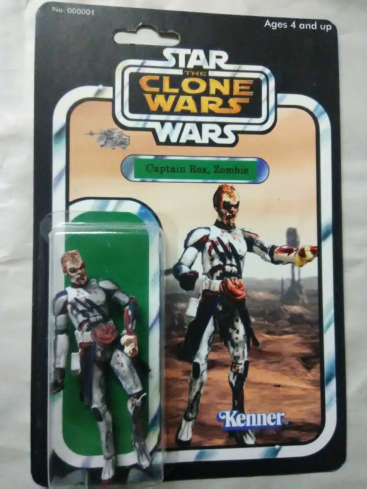 STAR WARS CLONE WARS CAPTAIN REX ZOMBIE WARS DKE BOOTLEG FIGURE 1 1 WITH CASE