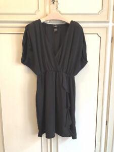 VESTITO-NERO-H-amp-M-stile-impero-DRESS-BLACK-v-neck-estivo-lady-tg-44-hm-hem-kimono