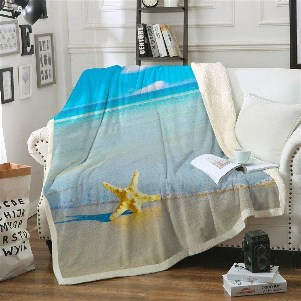 Ocean Beach View Sky Water Sherpa Plush Throw Blanket Fleece Bed Sofa Couch