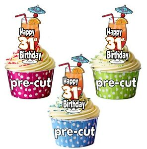 Image Is Loading 31st Birthday Cocktail Glass Precut Edible Cupcake Toppers
