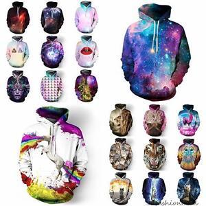 Street Fashion Donna Slim Dope Animal 3d Print Coat Uomo Hoodie Galaxy Pullover gIwq0