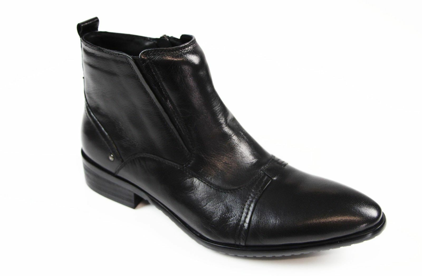 MENS AUSTRALIAN DESIGN BLACK FORMAL CASUAL LEATHER ZIP SHOES FORMAL DRESS BOOTS