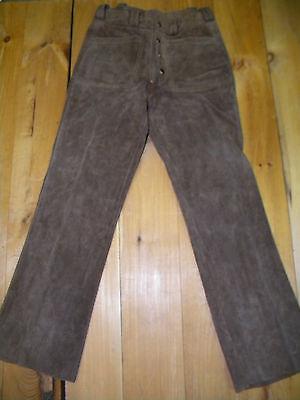 1970's Pelle Scamosciata Marrone Pantaloni 29 X 29 Scatto Fly Usato & In Ottime