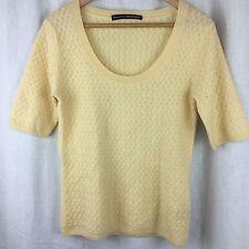 Ellen Tracy Cashmere Sweater Short Sleeve Basket-Weave Texture Knit Ivory Work M