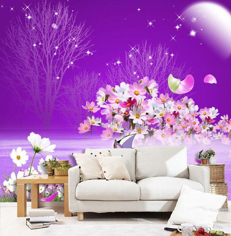 3D Lune Fleur 529 Photo Papier Peint en Autocollant Murale Plafond Chambre Art