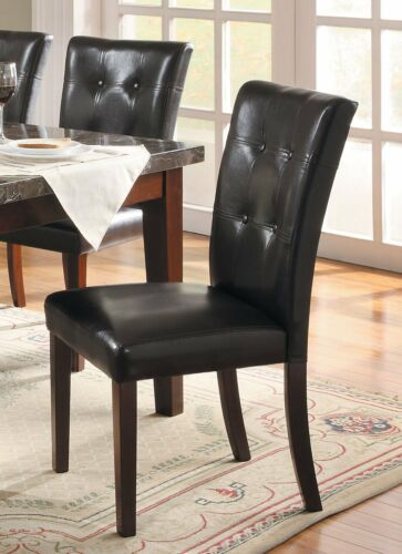 set of 2 Modern Luxurious Bonded-leather Parson Black Dining Side New Chairs