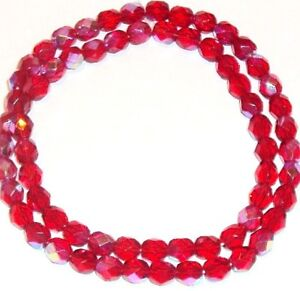 """Czech Fire Polished Round Faceted Beads in French Rose color 16/"""" strand"""