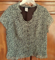EUC -- JONES NEW YORK TOP/BLOUSE - Size 10 -BROWN/CREAM -100% SILK - LINED