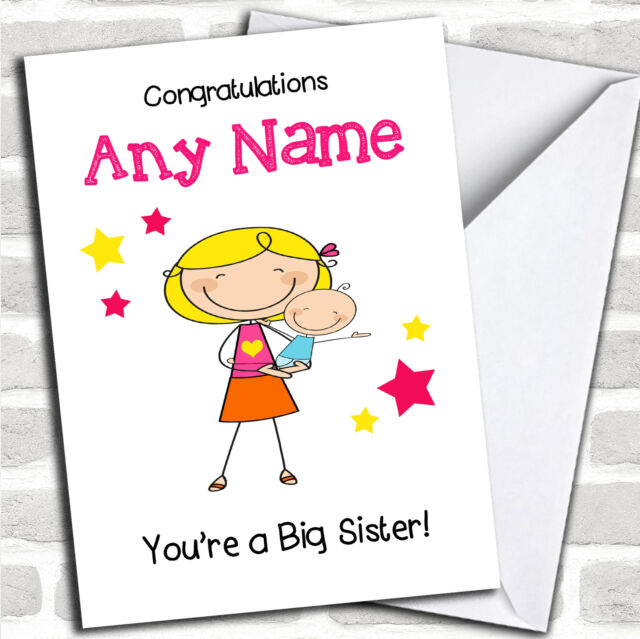 Blonde Big Sister Congratulations Baby Boy Brother Sibling