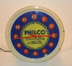 BEAUTIFUL 1940's PHILCO RADIO DEALER LIGHTED ADVERTISING CLOCK