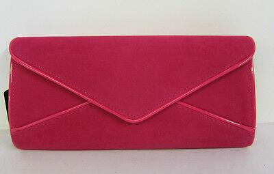 72978- Damen Ella Fuchsia Samt-effekt Clutch Tasche Pink Futter- Kette Band
