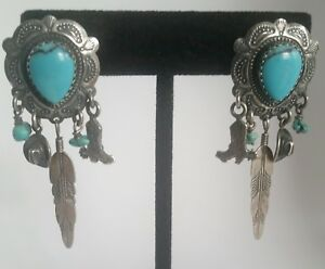 ad50ff420 Image is loading Sterling-Silver-amp-Turquoise-Dangling-Charms-Cowboy-Boots-