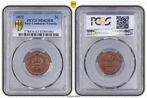 M5466-Rare-Italy-Finest-Venetia-3-Centesimi-1822-PCGS-MS63-UNC-RED