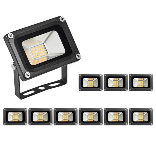 10X 10W LED Fluter SMD Strahler Scheinwerfer DC12 Volt Außen Warmweiß Flutlicht
