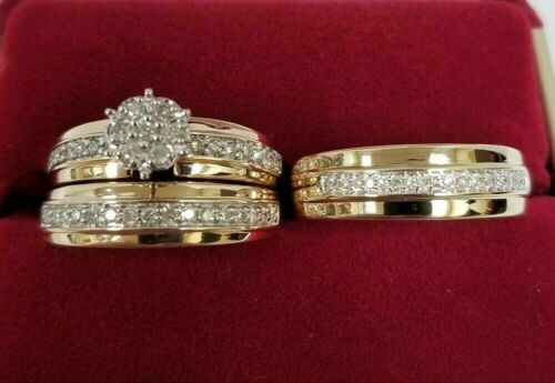 14K Yellow Gold Over His /& Hers Diamond Engagement Wedding Bridal Trio Ring Set