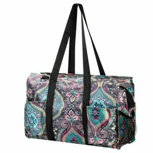 Light Utility All Purpose Tote Bag for Shopping Travel Laundry Blue Paisley