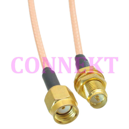 RP-SMA male to RP-SMA female bulkhead crimp RG316 cable jumper pigtail 30cm