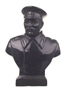 Soviet Russian USSR Leader Joseph Stalin Stone Bust / Statue 4.9'' black