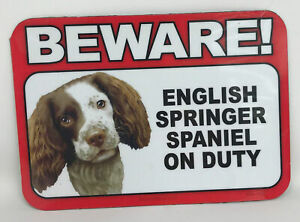 83559d004530 Beware! Guard English Springer Spaniel Dog On Duty Magnet Laminated ...