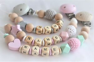 Personalised-Wooden-Dummy-Clip-Chain-Pacifier-Baby-Gift-Shower-Silicone-dummy