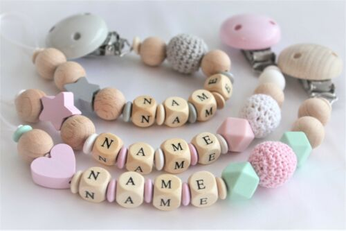 Personalised Wooden Dummy Clip Chain Pacifier Baby Gift Shower// Silicone dummy