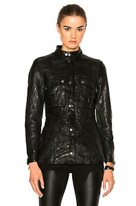 7c0d588adc6 NEW FRAME Atelier Black Soft Lambs Leather Long Moto Pocket Biker ...