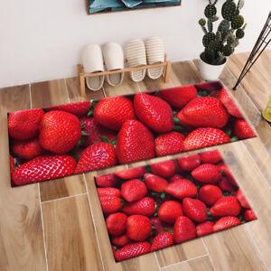 Details About Fresh Red Strawberry Pattern Area Rugs Bedroom Carpet Kitchen Floor Mat Doormat