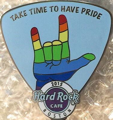 Hard Rock Cafe BOSTON 2015 GAY PRIDE PIN Rainbow Hand Guitar Pick - HRC #83640