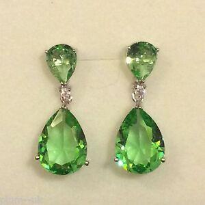 P-Designer-Large-Green-Peridot-Pear-Drop-Silver-Earrings-white-gold-GF-BOXED