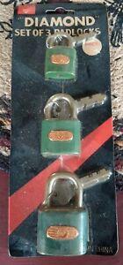 NOS-3-Colors-Vintage-Diamond-Brand-Padlock-w-Keys-Lock-Gumball-Vending-etc