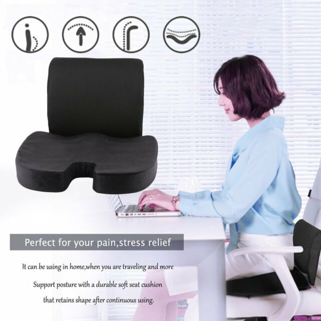 Memory Foam Coccyx Orthoped Seat Back Support Lumbar Cushion Home Office Chair H