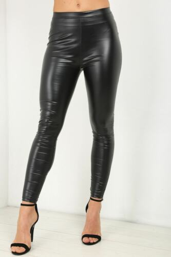 Women Ladies High Waisted PVC Leather Wet Look Leggings Pants Plus Size 8-24