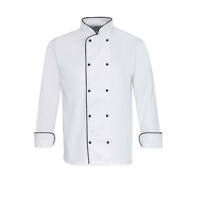 CHEFS JACKET, WHITE WITH BLACK TRIM, APRONS, BANQUET COAT, UNISEX, NEW, INS08