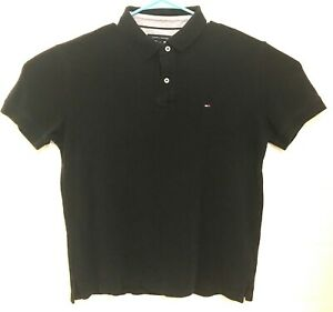 Tommy-Hilfiger-Mens-Sz-L-Polo-Shirt-Solid-Classic-Fit-Interlock-Tee-Logo