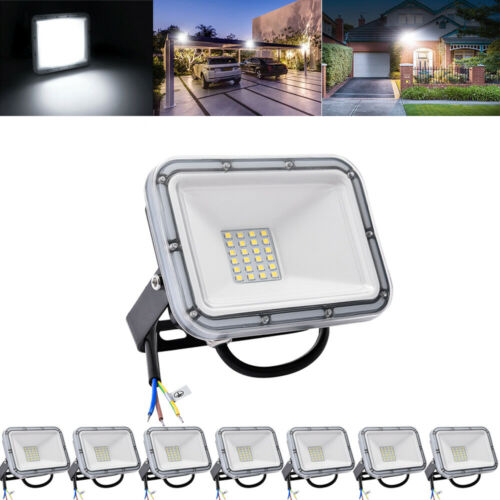 8X 20W LED Fluter Außen Strahler IP67 Flutlicht Ultraslim Scheinwerfer Kaltweiß