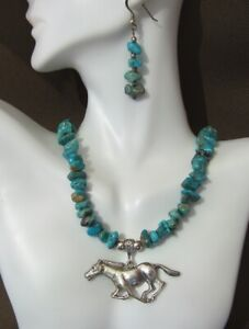 Horse-Pendant-Turquoise-Nuggets-in-Adjustable-Necklace-and-Earrings-Jewelry-Set