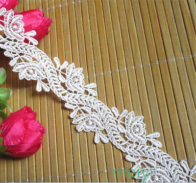 1yd Vintage White Embroidered Lace Trim Wedding Ribbon Applique DIY Sewing Craft