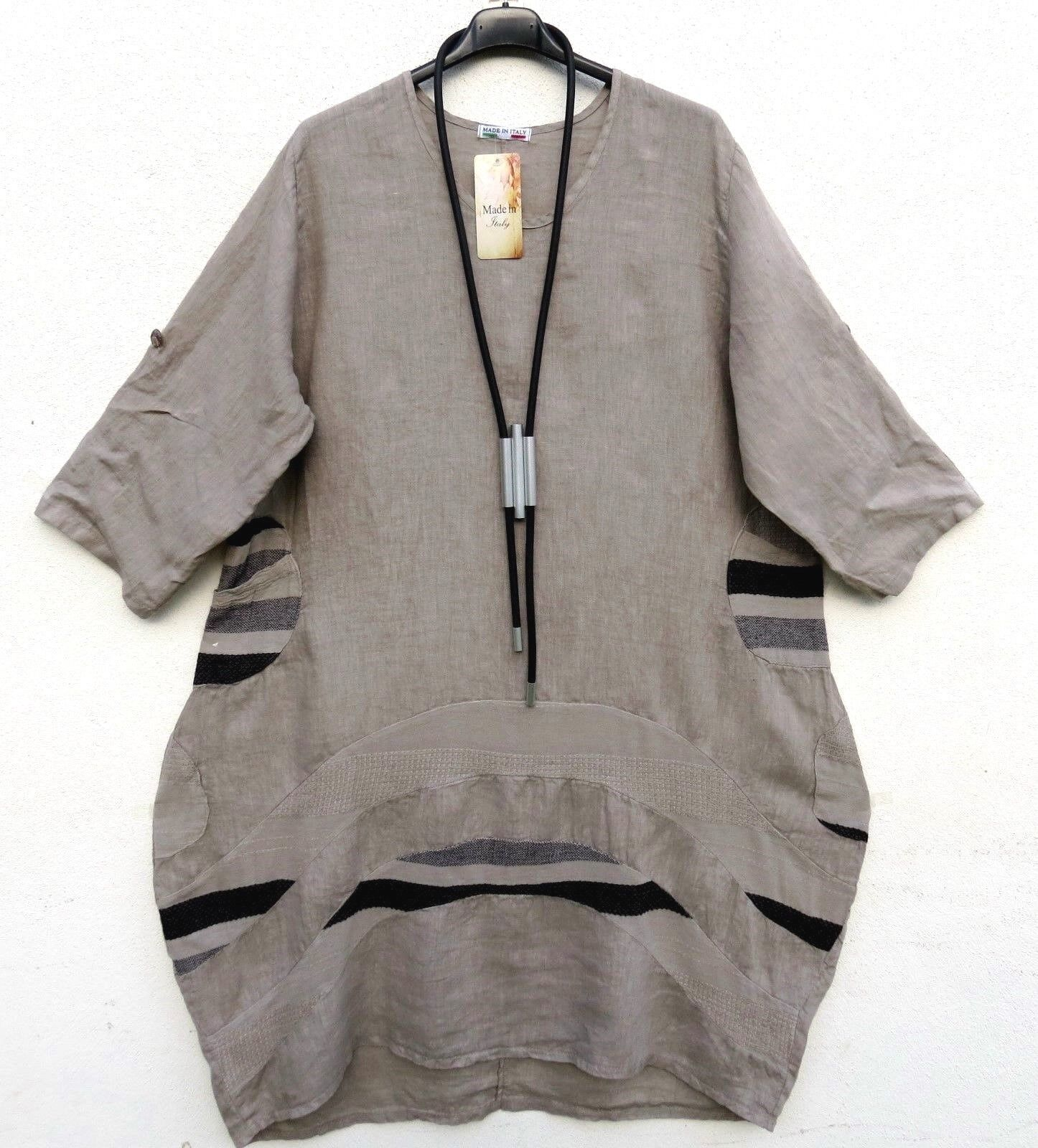Moda Estate Lino Abito Robe linen dress vestito XXL 52 54 Lagenlook e73dab