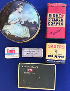 Lot-of-6-Vintage-Tins-Nebs-Coffee-Red-Pepper-Cigarettes-Nail-polish-Toffee