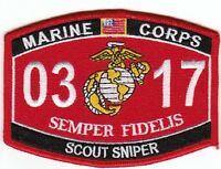 Usmc scout Sniper 0317 Mos Military Patch Semper Fidelis Marine Corps