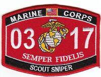 Usmc scout Sniper 0317 Mos Military Patch Semper Fidelis Marine Corps