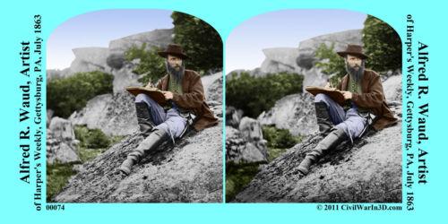 Alfred Waud Artist Gettysburg Civil War SV Stereoview Stereocard 3D 00074