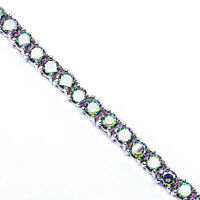 10ct Round Rainbow Colored Topaz 4 Prong .925 Sterling Silver Tennis Bracelet 7 on sale