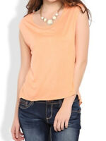 Deb Short Sleeve Chiffon Tee With Loace Split Back Small